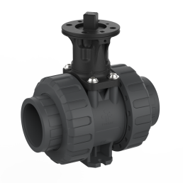2-way ball valve M1 PVC with adapter set, grey, black