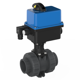 2-way ball valve M1 PVC with electric actuator, grey, black and blue