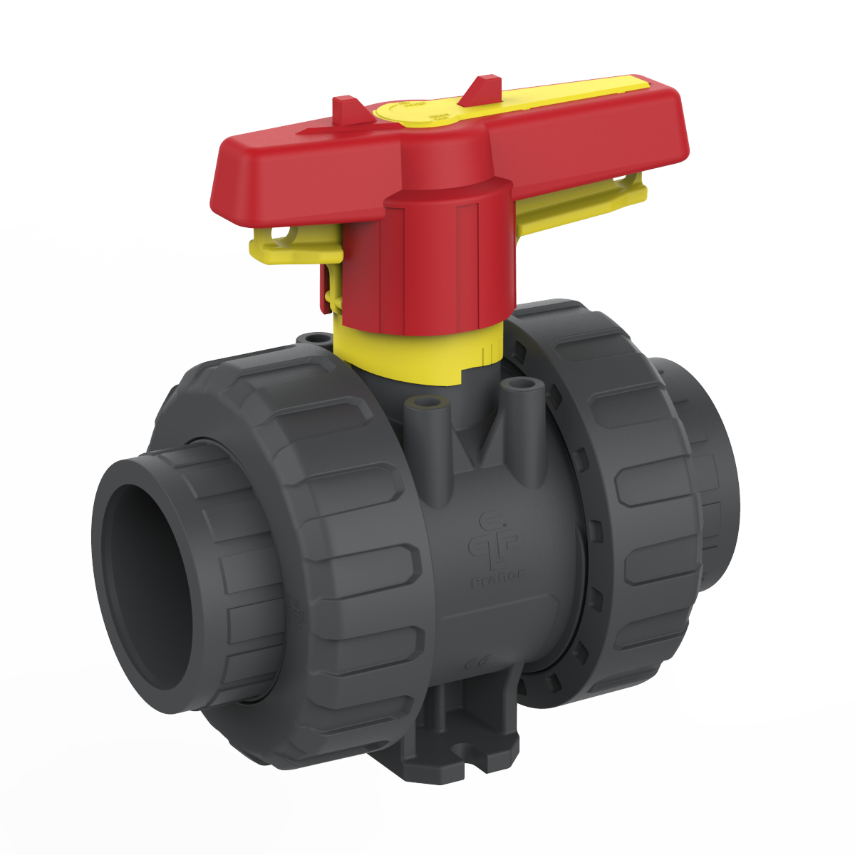 2-way ball valve M1 PVC manual, grey, yellow, red