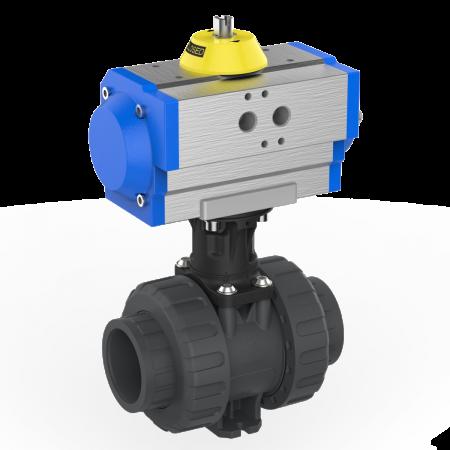2-way ball valve M1 PVC-U pneumatic actuator, grey, black blue and yellow