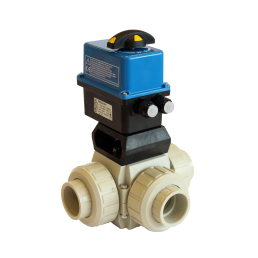 Praher 3-way Ball Valve S4 PP Electric Actuator Valpes, beige, black, blue