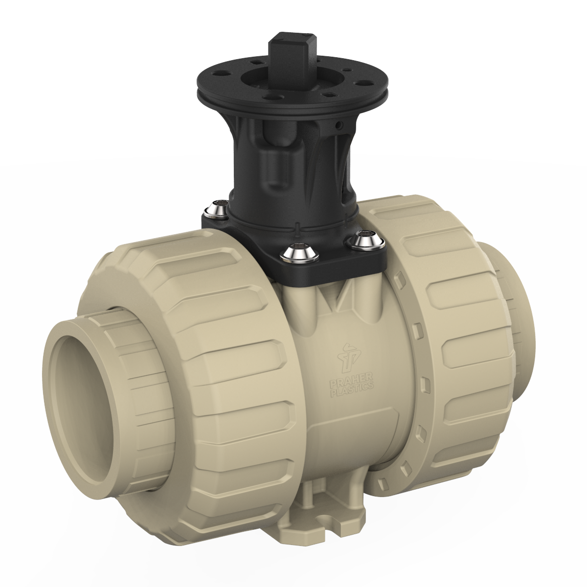 2-way ball valve M1 PP adapter set, beige and black