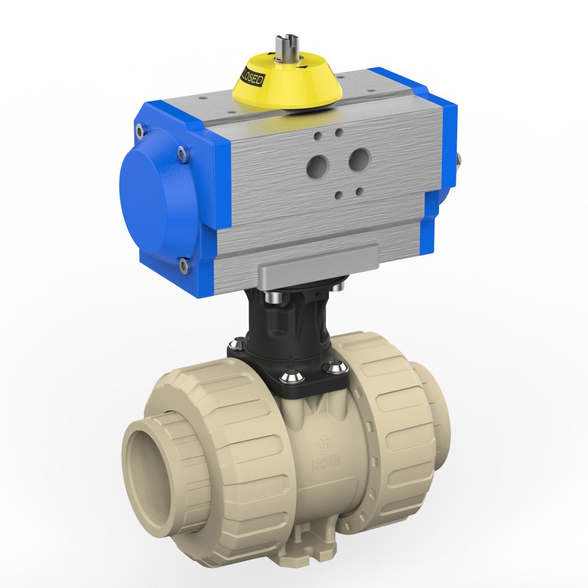Praher 2-way Ball Valve M1 PP Pneumatic Actuator, beige, black, grey, blue and yellow