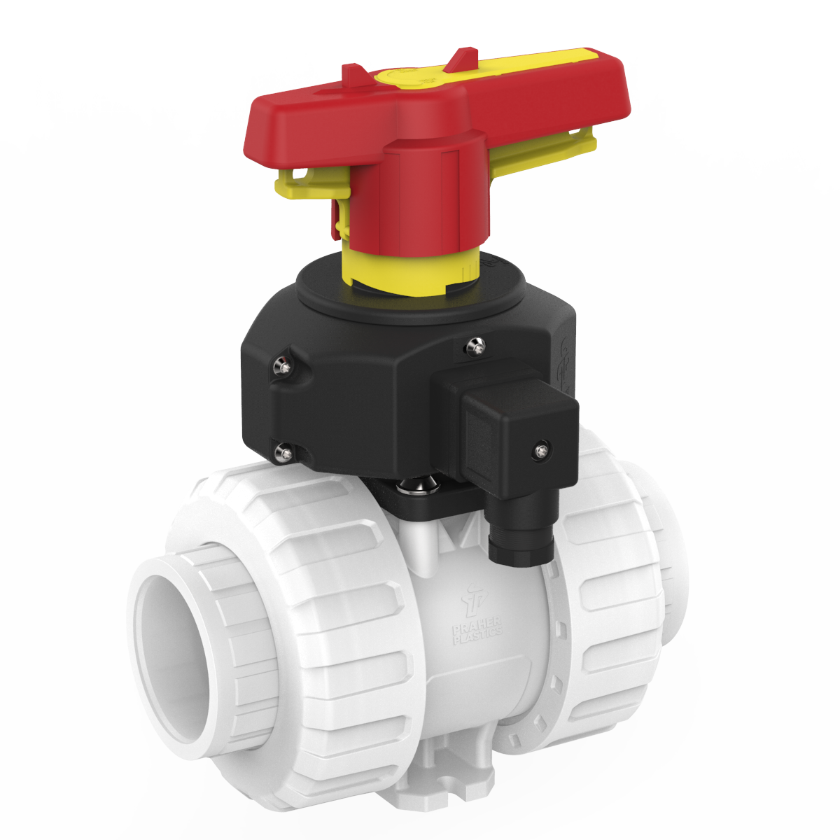 Ball Valve M1-DN40-PVDF with position feedback, white,black, yellow and red