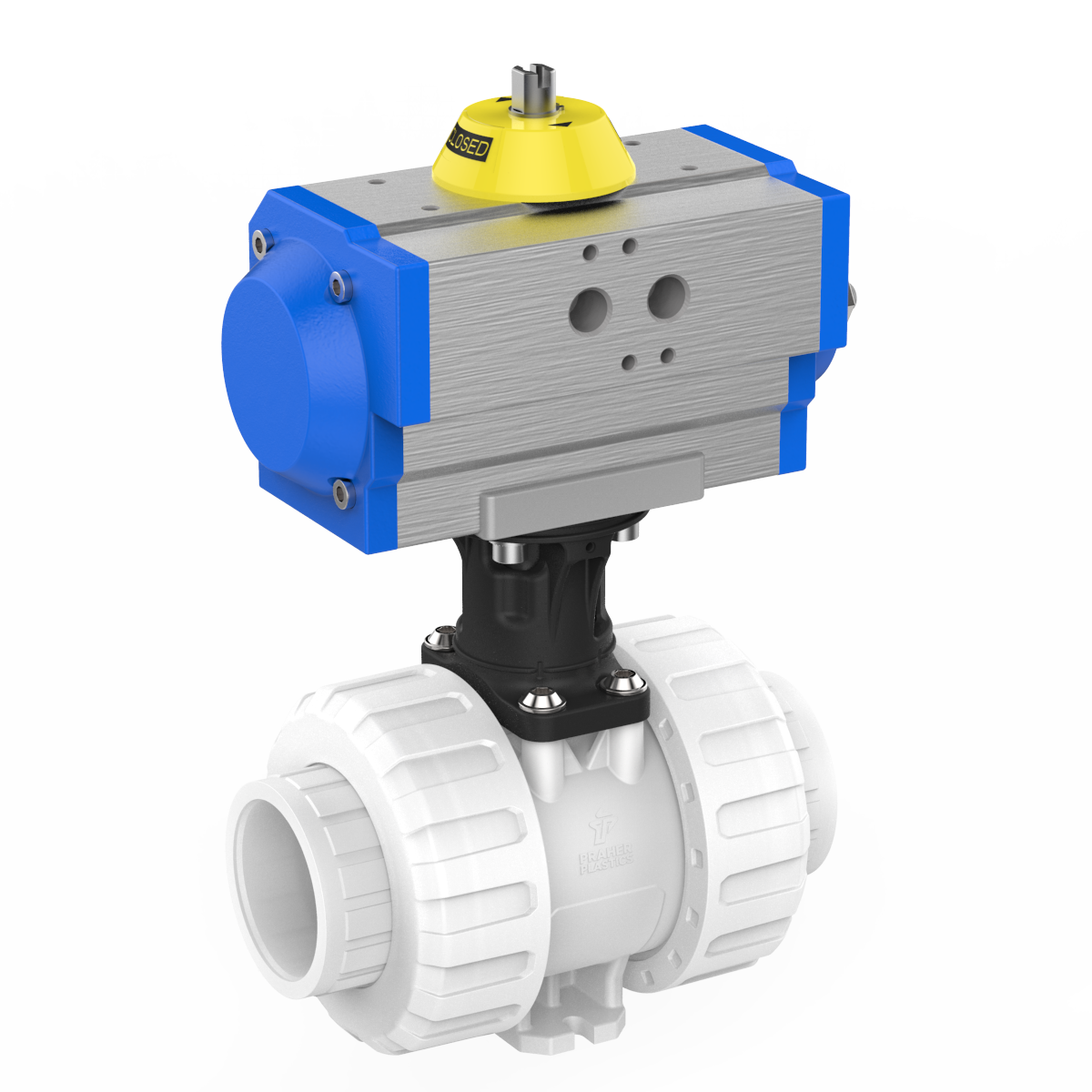 Praher 2-way Ball Valve M1 PVDF pneumatic actuator, white, black grey, blue and yellow