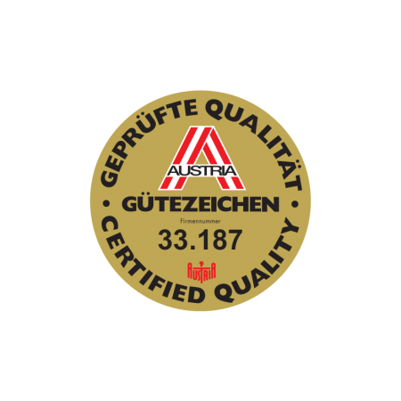 Austria Quality certificate, gold, black, red and white