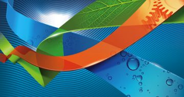 Logo Achema2015, blue, orange, green and white