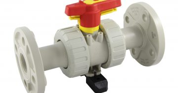 Ball Valve PP with fixed flange, nature, yellow and red