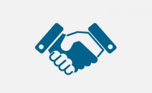 Icon handshake, blue and white