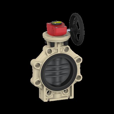 Praher_K4_butterfly_valve_PVCU_wheel, beige, grey, black, red