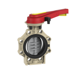 Praher_K4_butterfly_valve_CPVC_with position feedback, beige, grey black, red, yellow