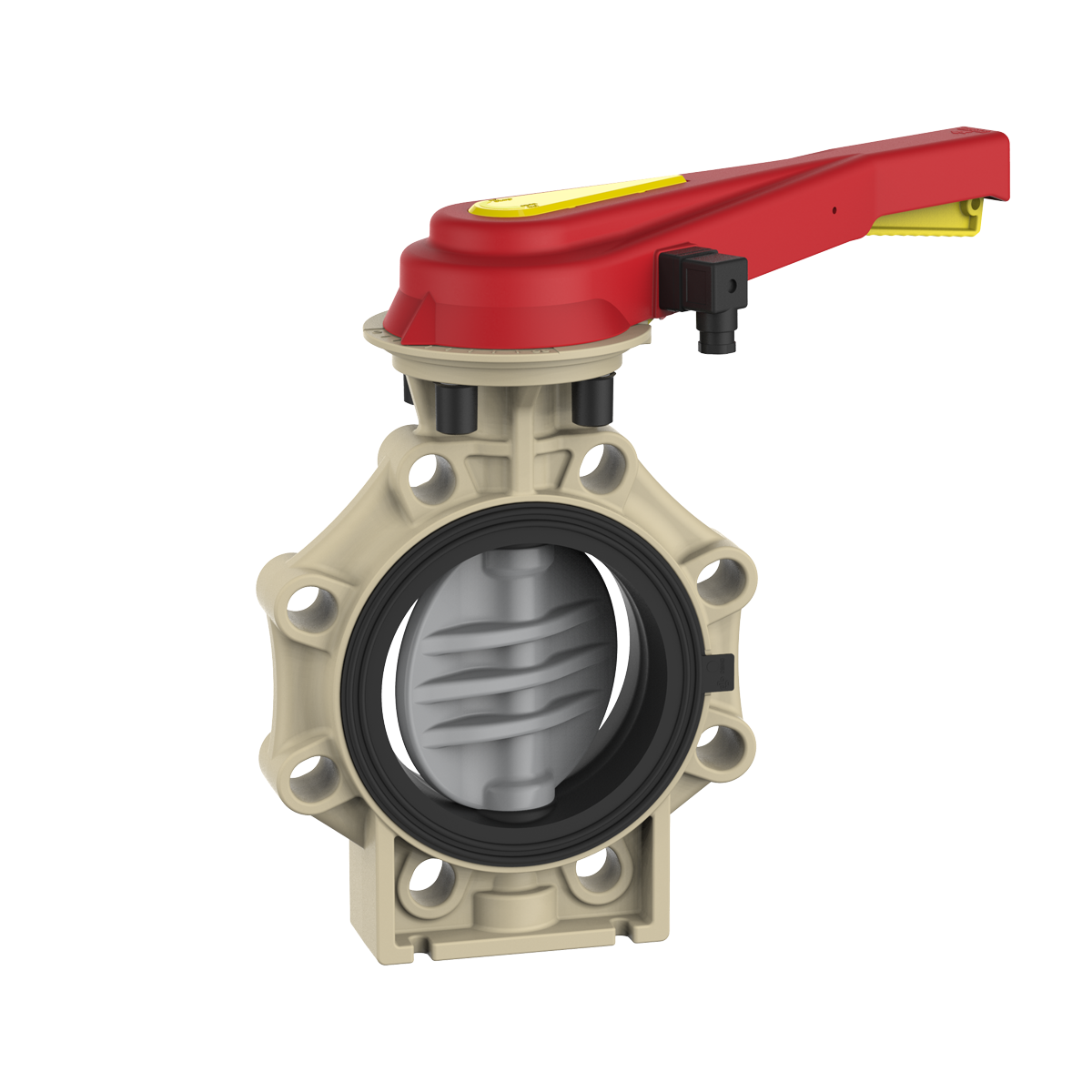 Lever Butterfly Valve : Praher butterfly valve k cpvc with hand lever and
