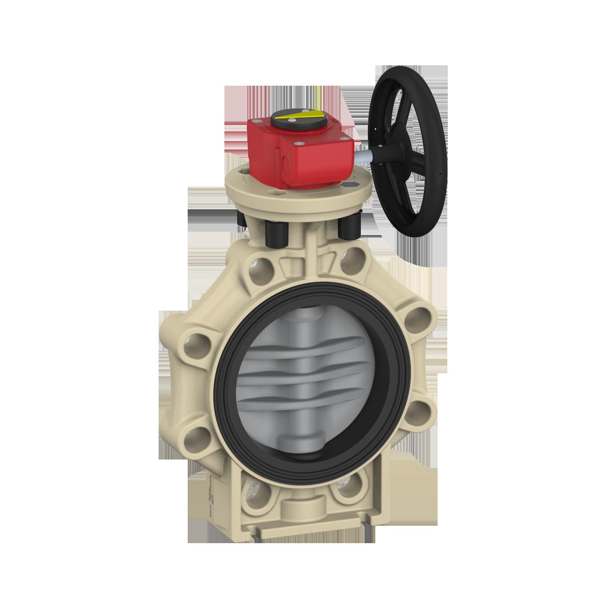 Praher_K4_butterfly_valve_cpvc_wheel, beige, grey, black, red