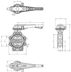 Drawing butterfly valve K4 with hand lever and position feedback