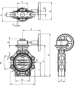 Drawing butterfly valve K4 with hand wheel