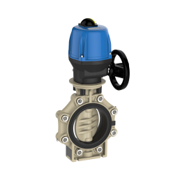 Praher_K4_butterfly_valve_LugType_PP_Valpes actuator, beige, black, blue