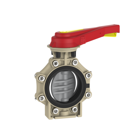 Praher_K4_butterfly_valve_LugType_PVC-C_hand_lever, grey, beige, red, yellow