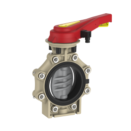 Praher_K4_butterfly_valve_LugType_PVC-C_hand_lever_PI, grey, black, beige, red, yellow