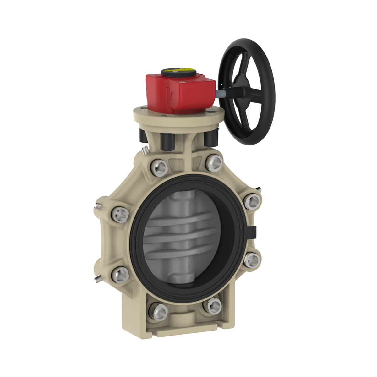 Praher_K4_butterfly_valve_LugType_PVC-C_wheel, grey, black, beige, red