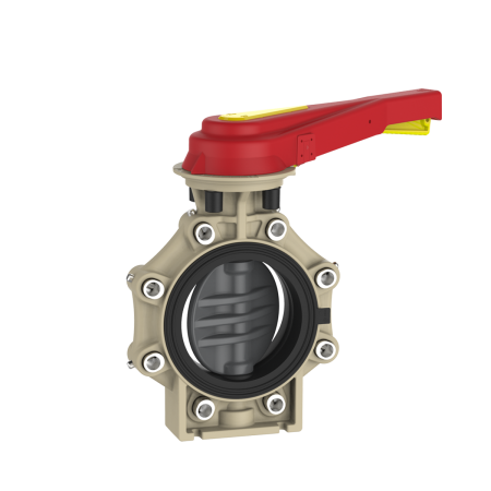 Praher_K4_butterfly_valve_LugType_PVC-U_hand_lever, grey, black, beige, red, yellow