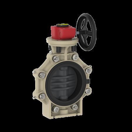 Praher_K4_butterfly_valve_LugType_PVC-U_wheel, grey, black, beige, red