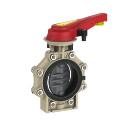 Praher_K4_butterfly_valve_LugType_PVC_hand_lever_PI, grey, black, beige, red, yellow