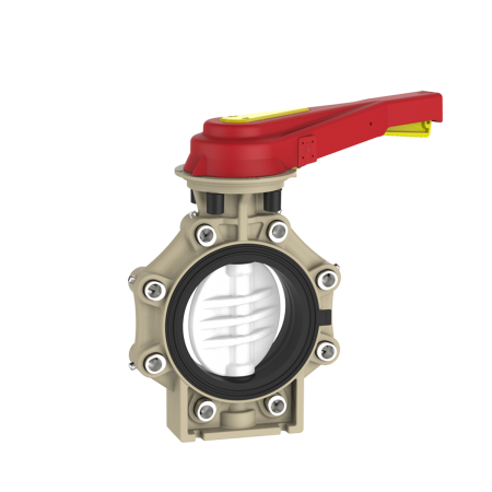 Praher_K4_butterfly_valve_LugType_PVDF_hand_lever, white, black, beige, red, yellow