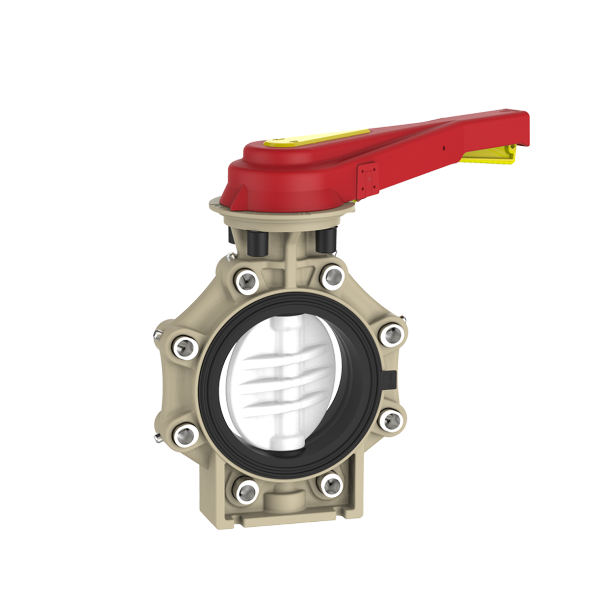Lever Butterfly Valve : Praher butterfly valve k pvdf with hand lever and lug