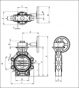 Drawing butterfly Valve K4 Hand Wheel Lug Type