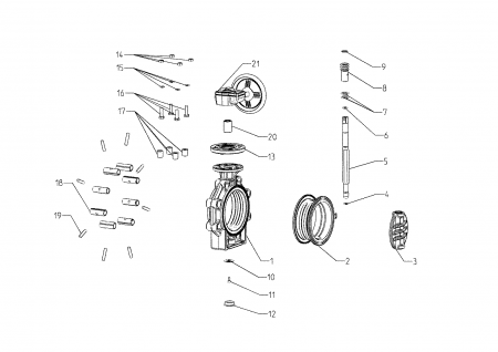 Drawing butterfly Valve K4 Hand Wheel Lug Type