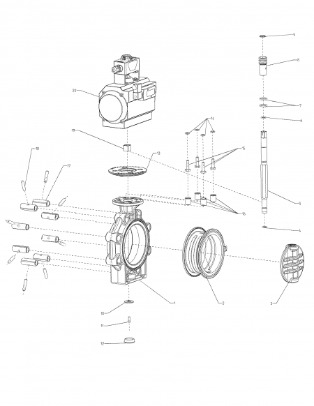 Drawing butterfly Valve K4 pneumatic actuator Lug Type